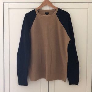 J. Crew Men's Raglan Sleeve Camel & Navy Sweater